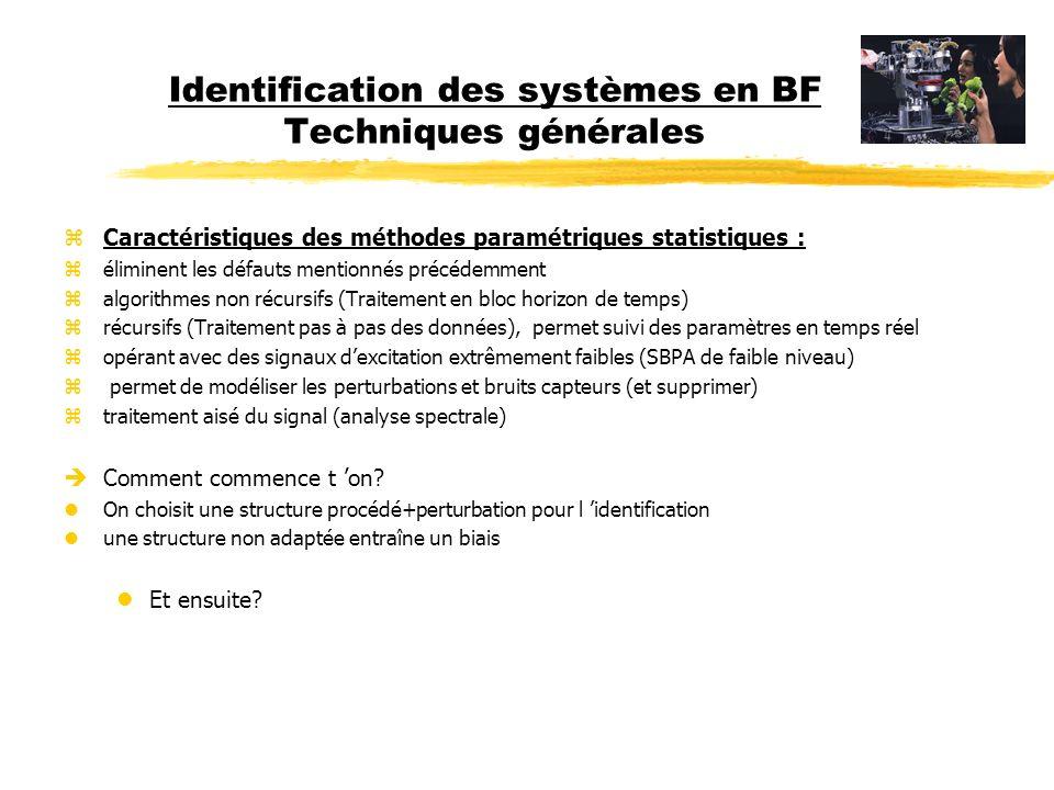 Identification des systèmes en BF Les méthodes zAspects pratiques de l identification : Calculateur (PC, Mac, Linux…) Carte E/S RégulateurSystème physique Consigne+ + SBPA (possibilité 2) SBPA (possibilité 1) y0y0 y1y1 y(t) u(t) Sortie
