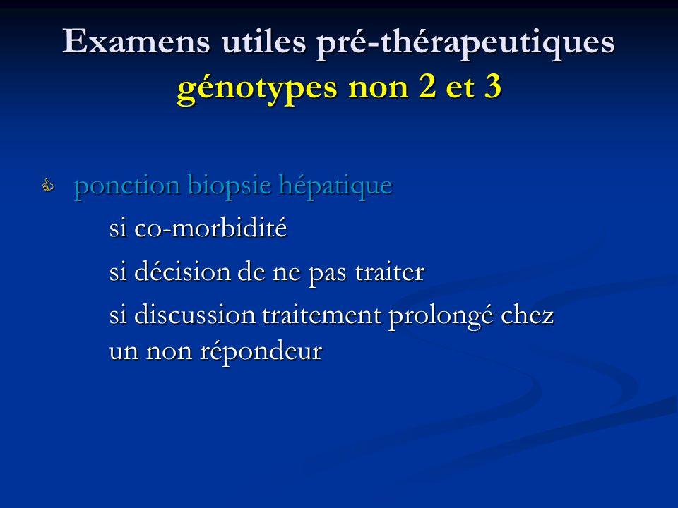 Examens utiles pré-thérapeutiques génotypes non 2 et 3 ponction biopsie hépatique ponction biopsie hépatique si co-morbidité si décision de ne pas tra