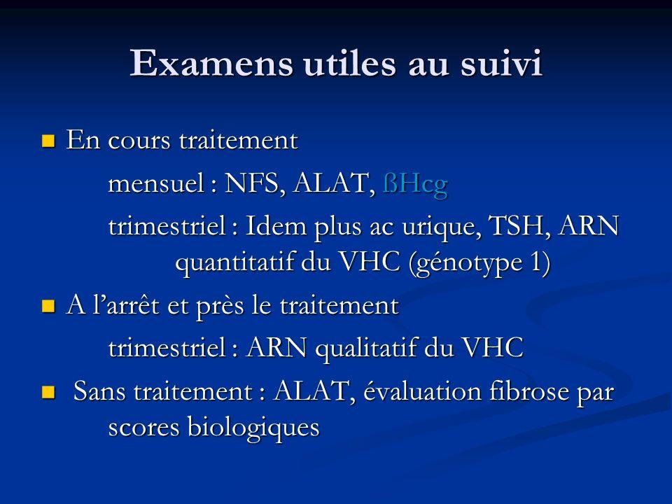 Examens utiles au suivi En cours traitement En cours traitement mensuel : NFS, ALAT, ßHcg trimestriel : Idem plus ac urique, TSH, ARN quantitatif du V