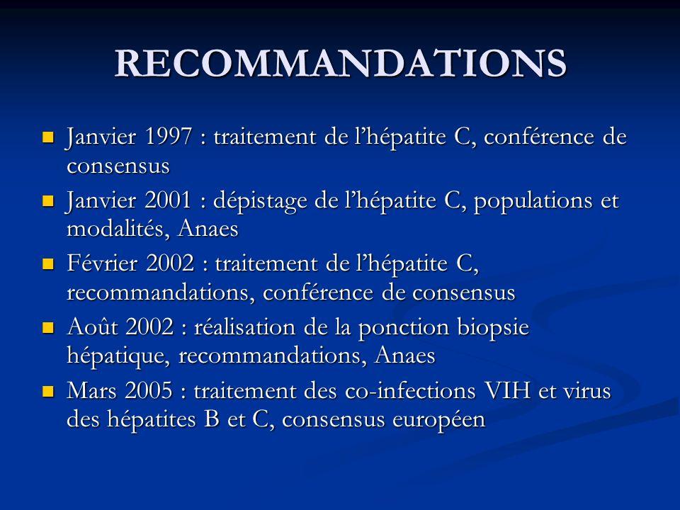 RECOMMANDATIONS Janvier 1997 : traitement de lhépatite C, conférence de consensus Janvier 1997 : traitement de lhépatite C, conférence de consensus Ja