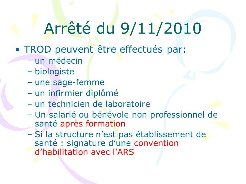 Arrêté du 9/11/2010 TROD peuvent être effectués par: –un médecin –biologiste –une sage-femme –un infirmier diplômé –un technicien de laboratoire –Un s