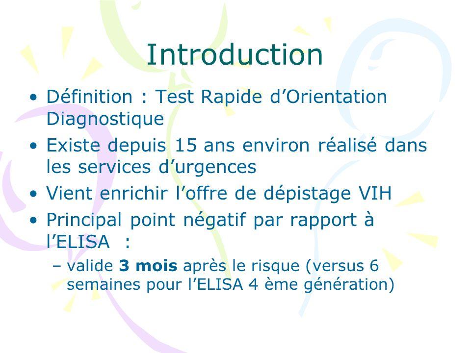 Introduction Définition : Test Rapide dOrientation Diagnostique Existe depuis 15 ans environ réalisé dans les services durgences Vient enrichir loffre