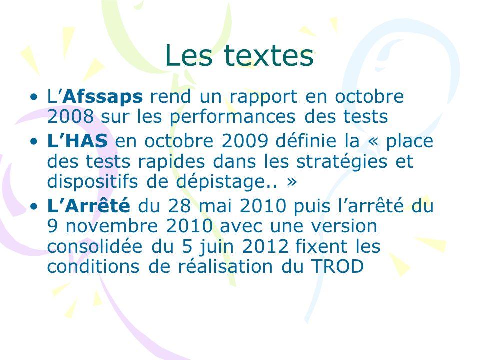 Les textes LAfssaps rend un rapport en octobre 2008 sur les performances des tests LHAS en octobre 2009 définie la « place des tests rapides dans les stratégies et dispositifs de dépistage..