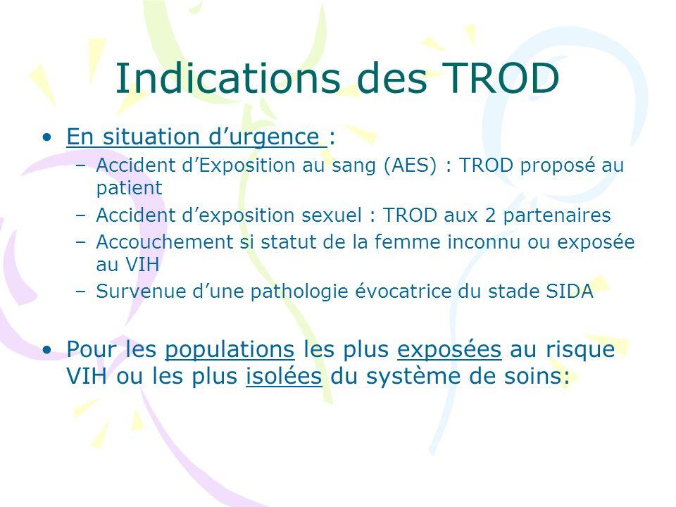 Indications des TROD En situation durgence : –Accident dExposition au sang (AES) : TROD proposé au patient –Accident dexposition sexuel : TROD aux 2 p