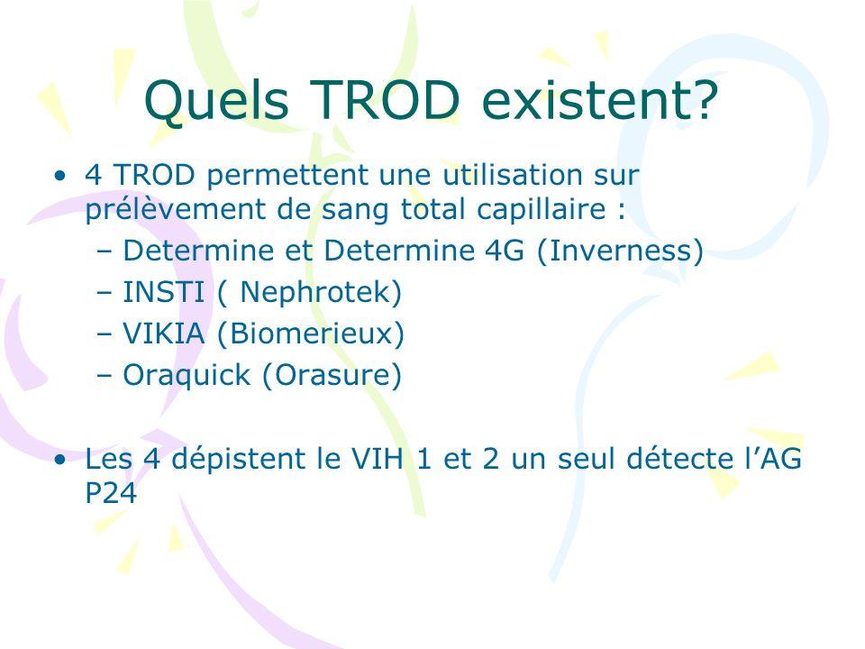 Quels TROD existent? 4 TROD permettent une utilisation sur prélèvement de sang total capillaire : –Determine et Determine 4G (Inverness) –INSTI ( Neph