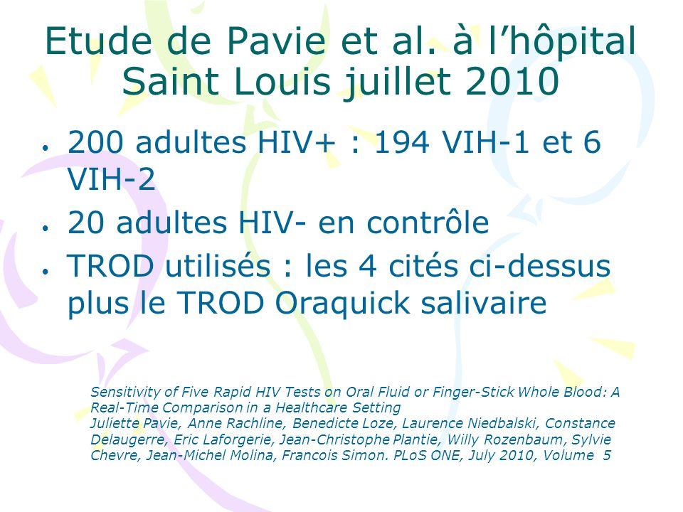 Etude de Pavie et al. à lhôpital Saint Louis juillet 2010 200 adultes HIV+ : 194 VIH-1 et 6 VIH-2 20 adultes HIV- en contrôle TROD utilisés : les 4 ci