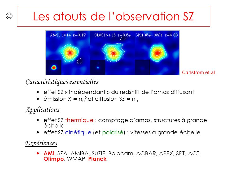 Les atouts de lobservation SZ Caractéristiques essentielles effet SZ « indépendant » du redshift de lamas diffusant émission X n e 2 et diffusion SZ n e Applications effet SZ thermique : comptage damas, structures à grande échelle effet SZ cinétique (et polarisé) : vitesses à grande échelle Expériences AMI, SZA, AMiBA, SuZIE, Bolocam, ACBAR, APEX, SPT, ACT, Olimpo, WMAP, Planck Carlstrom et al.