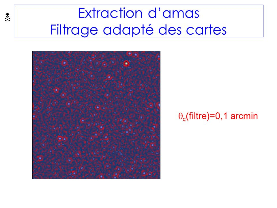 Extraction damas Filtrage adapté des cartes c (filtre)=0,1 arcmin