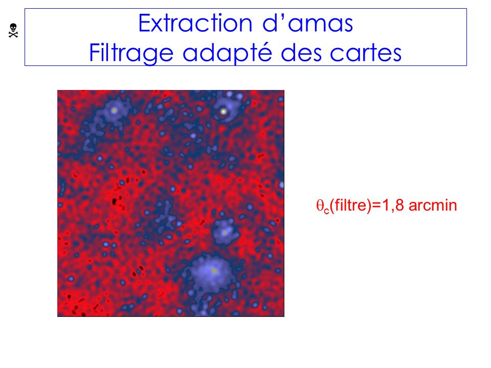 Extraction damas Filtrage adapté des cartes c (filtre)=1,8 arcmin