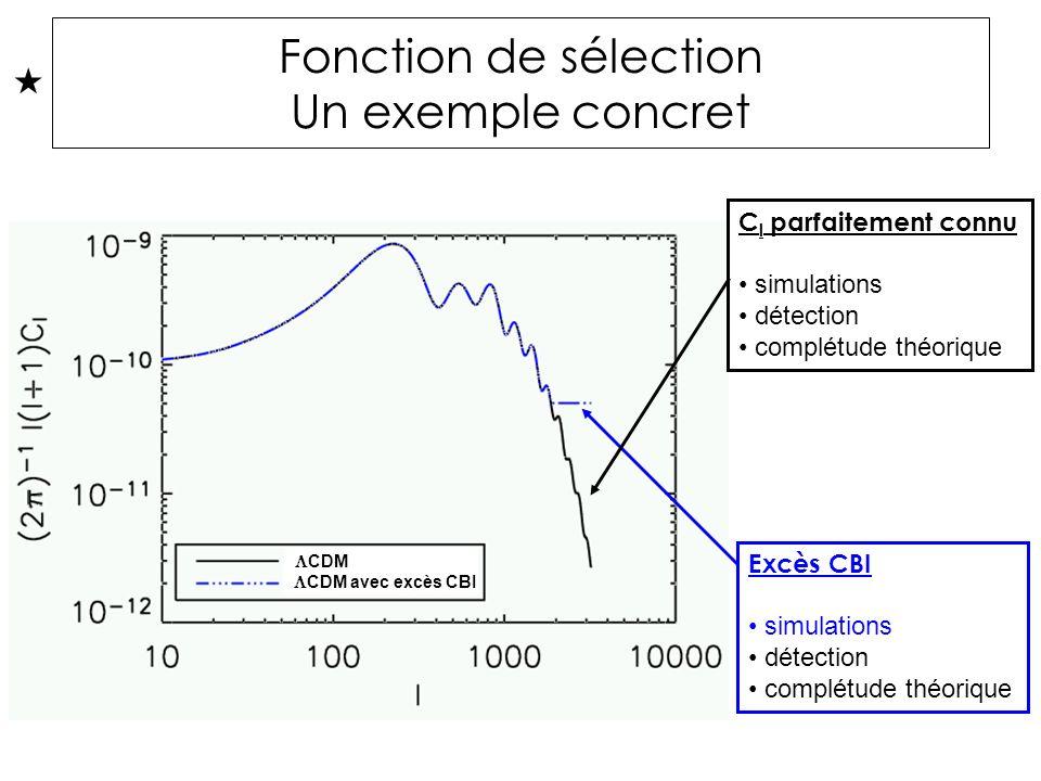 Fonction de sélection Un exemple concret CDM avec excès CBI CDM C l parfaitement connu simulations détection complétude théorique Excès CBI simulations détection complétude théorique