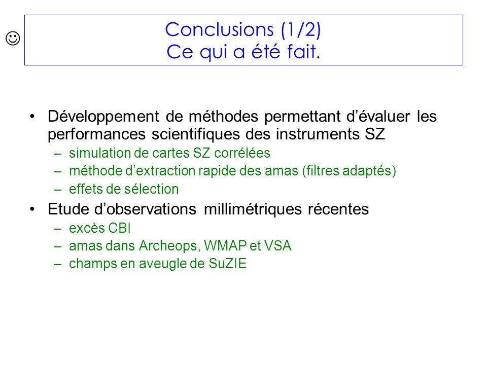 Conclusions (1/2) Ce qui a été fait.