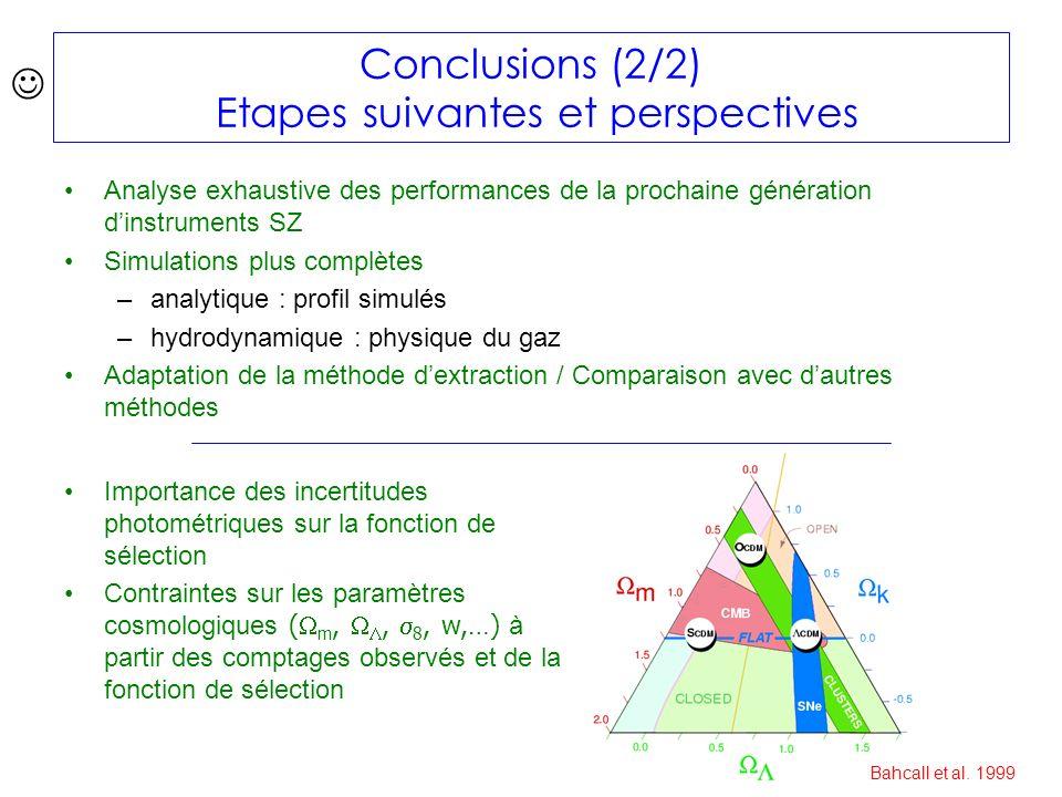 Conclusions (2/2) Etapes suivantes et perspectives Analyse exhaustive des performances de la prochaine génération dinstruments SZ Simulations plus complètes –analytique : profil simulés –hydrodynamique : physique du gaz Adaptation de la méthode dextraction / Comparaison avec dautres méthodes Importance des incertitudes photométriques sur la fonction de sélection Contraintes sur les paramètres cosmologiques ( m,, 8, w,…) à partir des comptages observés et de la fonction de sélection Bahcall et al.