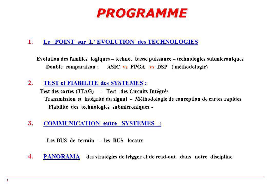 3 PROGRAMME 1. Le POINT sur L EVOLUTION des TECHNOLOGIES Evolution des familles logiques – techno.