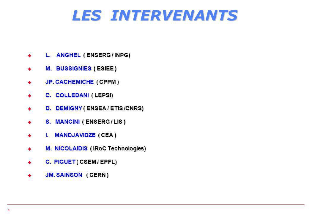 4 LES INTERVENANTS L. ANGHEL ( ENSERG / INPG) L. ANGHEL ( ENSERG / INPG) M.