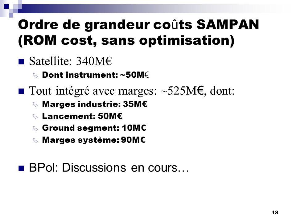 18 Ordre de grandeur co û ts SAMPAN (ROM cost, sans optimisation) Satellite: 340M Dont instrument: ~50M Tout intégré avec marges: ~525M, dont: Marges