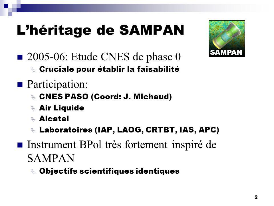 2 Lhéritage de SAMPAN 2005-06: Etude CNES de phase 0 Cruciale pour établir la faisabilité Participation: CNES PASO (Coord: J. Michaud) Air Liquide Alc