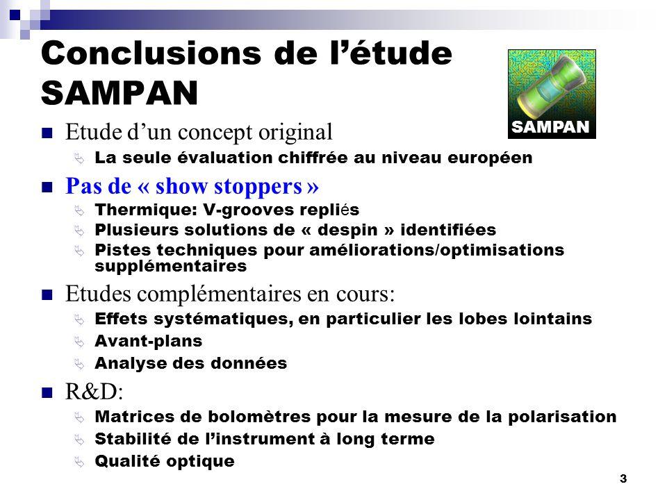 3 Conclusions de létude SAMPAN Etude dun concept original La seule évaluation chiffrée au niveau européen Pas de « show stoppers » Thermique: V-groove