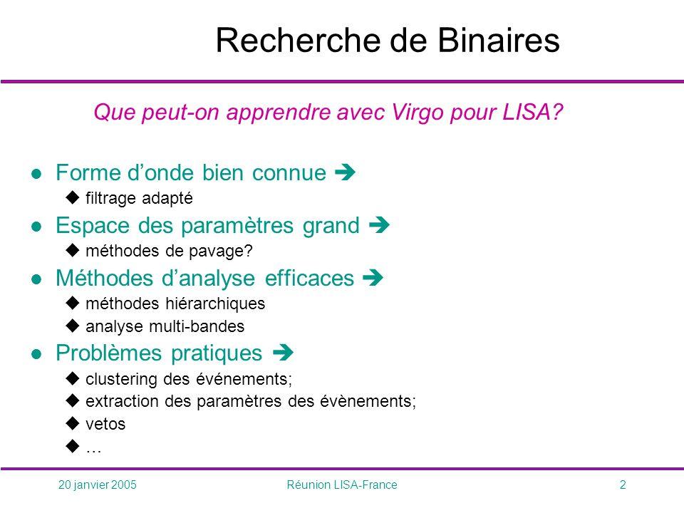 20 janvier 2005Réunion LISA-France2 Recherche de Binaires Que peut-on apprendre avec Virgo pour LISA.