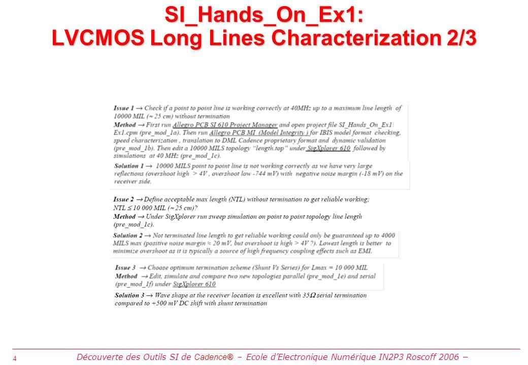 4 4 SI_Hands_On_Ex1: LVCMOS Long Lines Characterization 2/3 Découverte des Outils SI de Cadence® Ecole dElectronique Numérique IN2P3 Roscoff 2006