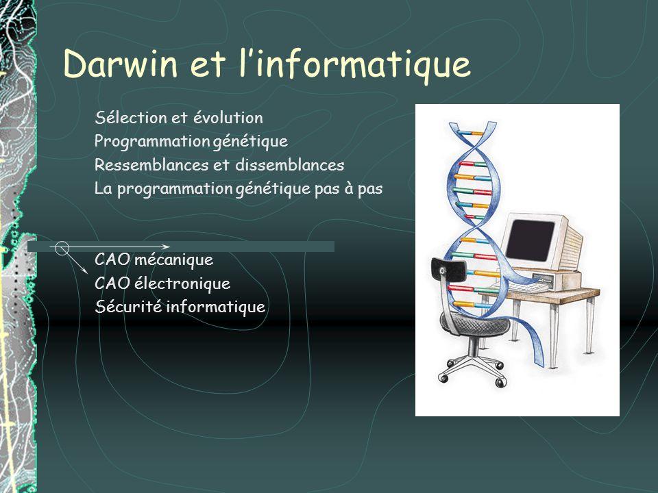 Darwin et linformatique Sélection et évolution Programmation génétique Ressemblances et dissemblances La programmation génétique pas à pas CAO mécaniq