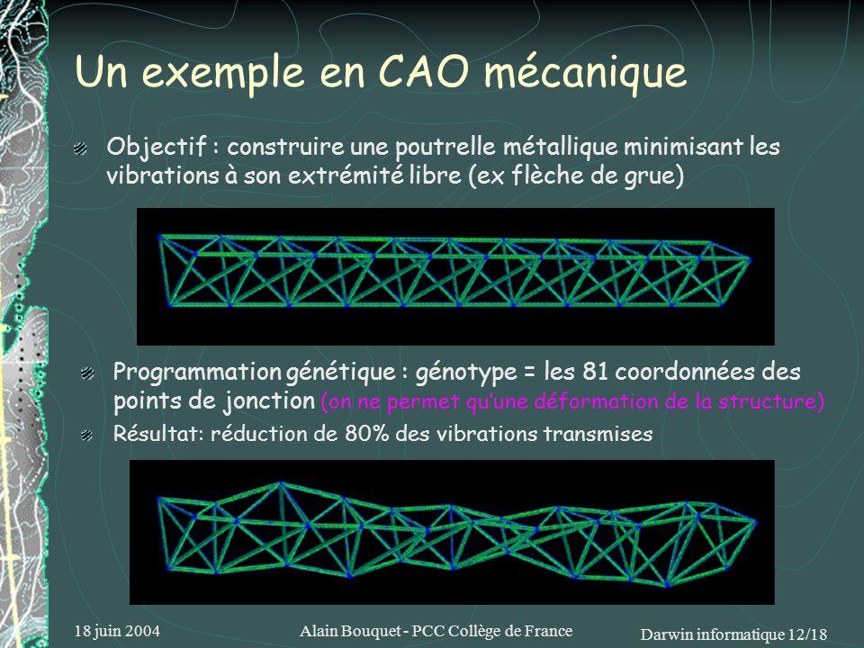 18 juin 2004Alain Bouquet - PCC Collège de France Darwin informatique 12/18 Un exemple en CAO mécanique Objectif : construire une poutrelle métallique