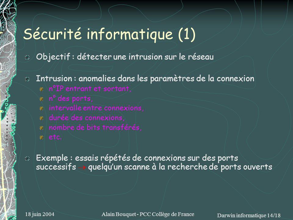 18 juin 2004Alain Bouquet - PCC Collège de France Darwin informatique 14/18 Sécurité informatique (1) Objectif : détecter une intrusion sur le réseau