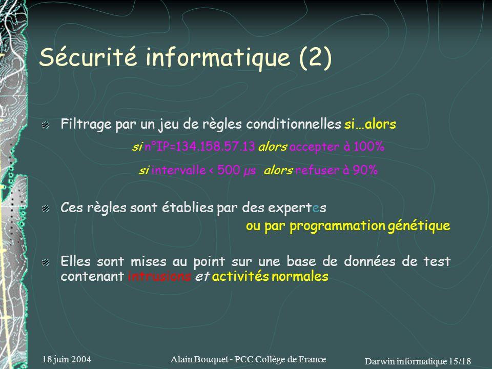 18 juin 2004Alain Bouquet - PCC Collège de France Darwin informatique 15/18 Sécurité informatique (2) Filtrage par un jeu de règles conditionnelles si