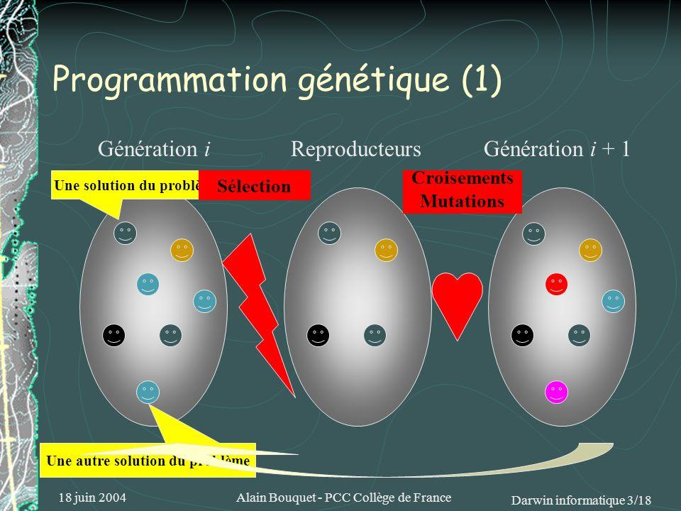 18 juin 2004Alain Bouquet - PCC Collège de France Darwin informatique 3/18 Programmation génétique (1) Génération iReproducteursGénération i + 1 Une s