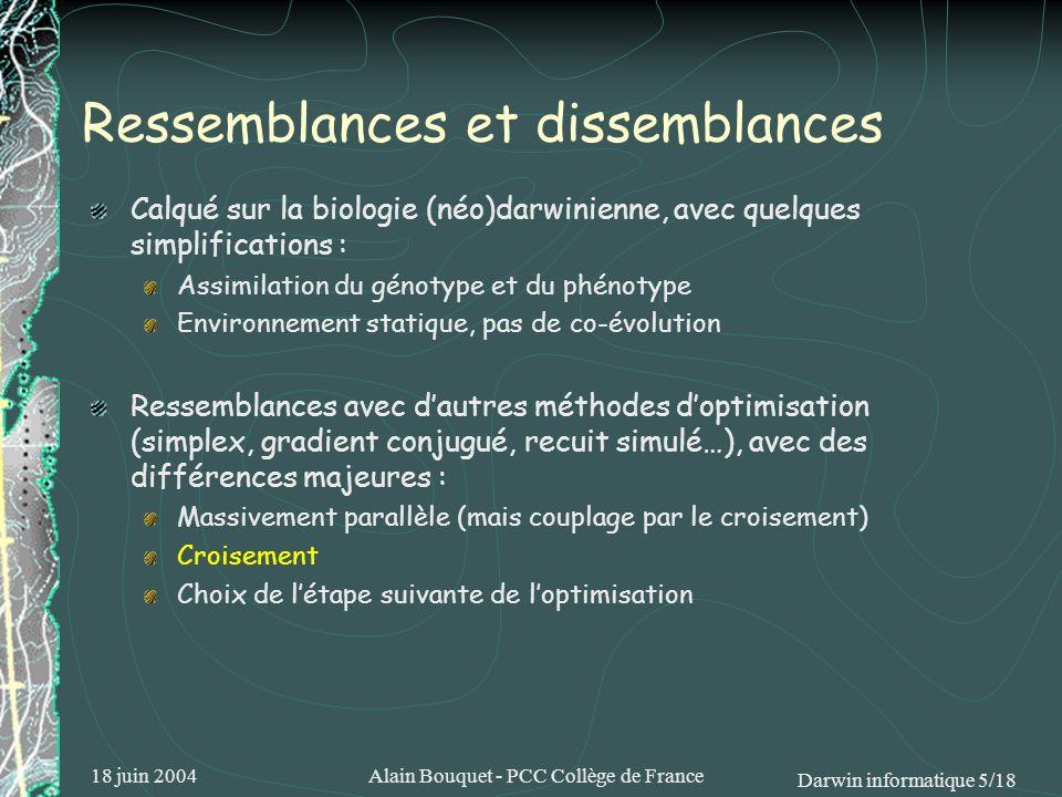 18 juin 2004Alain Bouquet - PCC Collège de France Darwin informatique 6/18 Pas à pas (1) Formaliser le problème sous forme dun génotype Soit, par exemple, à maximiser la fonction f(x,y)=[16x(1-x)sin(9πx)y(1-y)sin(9πy)] 2 Maximum : f(0.5,0.5) = 1 Mais il existe beaucoup dautres maxima proches, séparés par des creux profonds Cauchemar pour les méthodes courantes