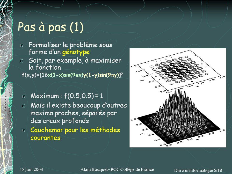 18 juin 2004Alain Bouquet - PCC Collège de France Darwin informatique 7/18 Générer (aléatoirement ou non) une population de génotypes Calculer pour chacun deux une fonction de qualité [ici logiquement la valeur de f(x,y)] Pas à pas (2) Génotype : position {x, y} du point dessai Par exemple, avec 3 décimales pour chaque coordonnée {0.724, 0.249} [724249] 724249