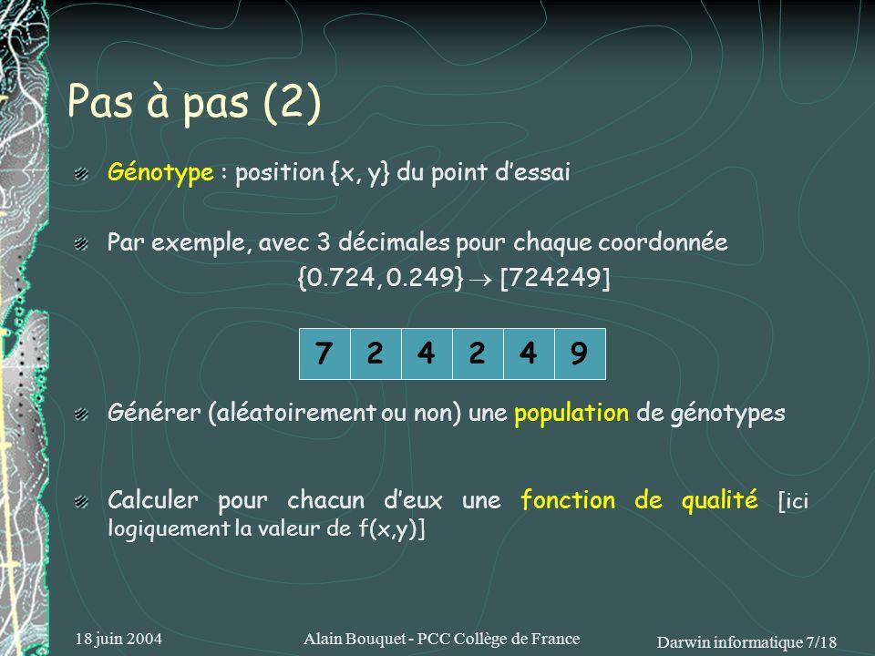 18 juin 2004Alain Bouquet - PCC Collège de France Darwin informatique 7/18 Générer (aléatoirement ou non) une population de génotypes Calculer pour ch