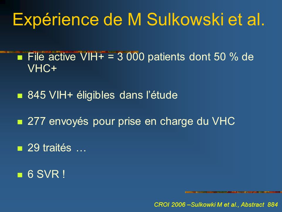 Expérience de M Sulkowski et al. File active VIH+ = 3 000 patients dont 50 % de VHC+ 845 VIH+ éligibles dans létude 277 envoyés pour prise en charge d