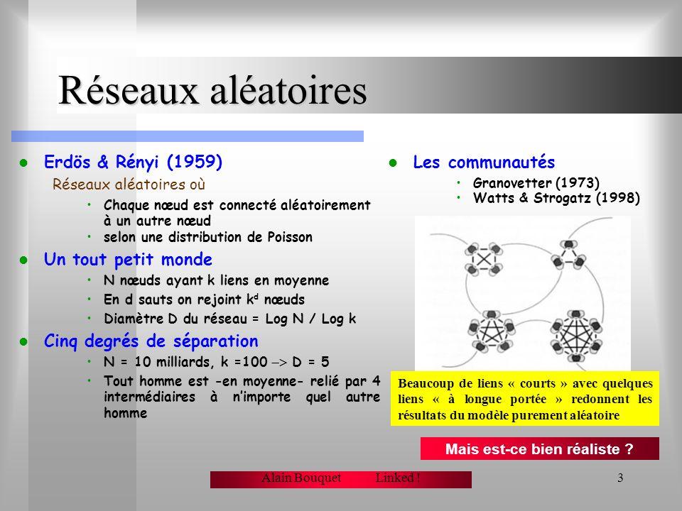 Alain Bouquet Linked !2 Graphes et réseaux Nœuds et liens Un réseau est formé de nœuds connectés par des liens Ces liens peuvent être Orientés ou non