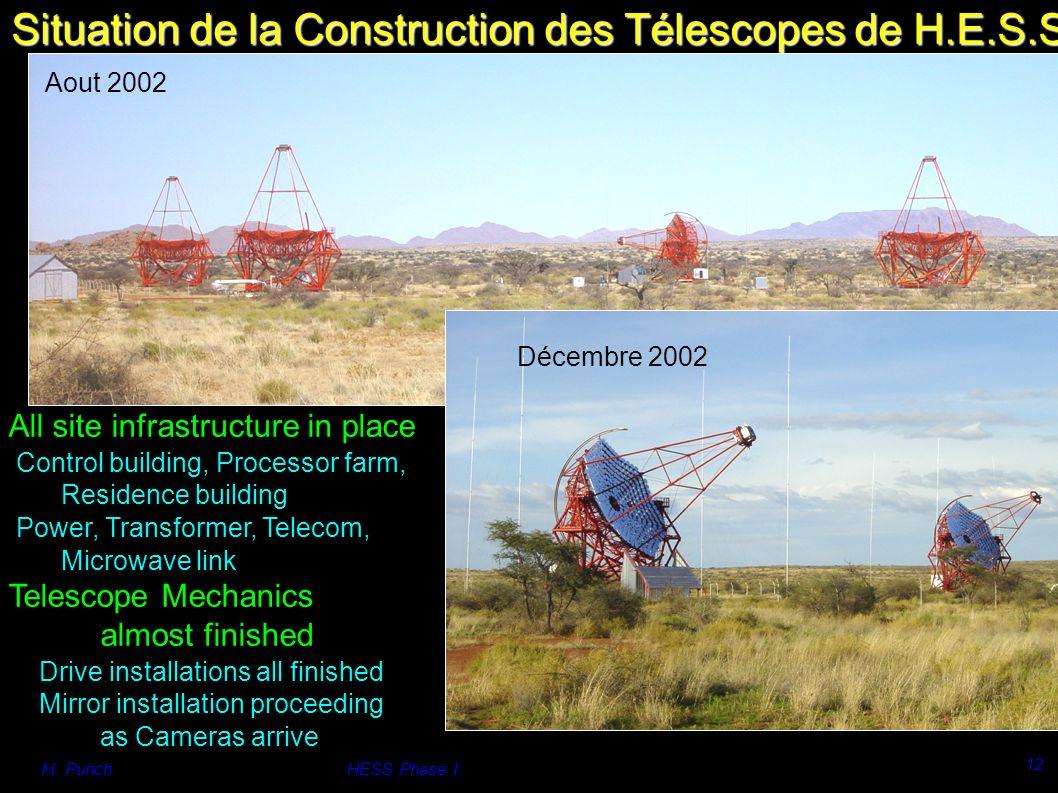 M. PunchHESS Phase I 12 Situation de la Construction des Télescopes de H.E.S.S.