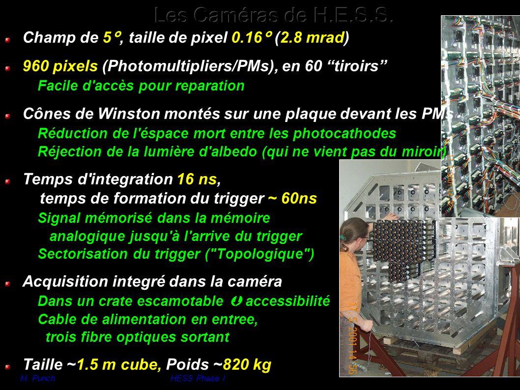 M. PunchHESS Phase I 7 Champ de 5°, taille de pixel 0.16° (2.8 mrad) 960 pixels (Photomultipliers/PMs), en 60 tiroirs Facile d'accès pour reparation C