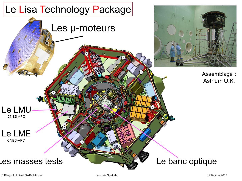 E.Plagnol - LISA/LISAPathfinderJournée Spatiale19 Fevrier 2008 masses tests 73% Au-27% Pt ; 2kg ; L = 46 mm banc optique Mesure de la distance entre les masses, entre les masses et le banc, de la phase et des fréquences relatives des faisceaux lasers.