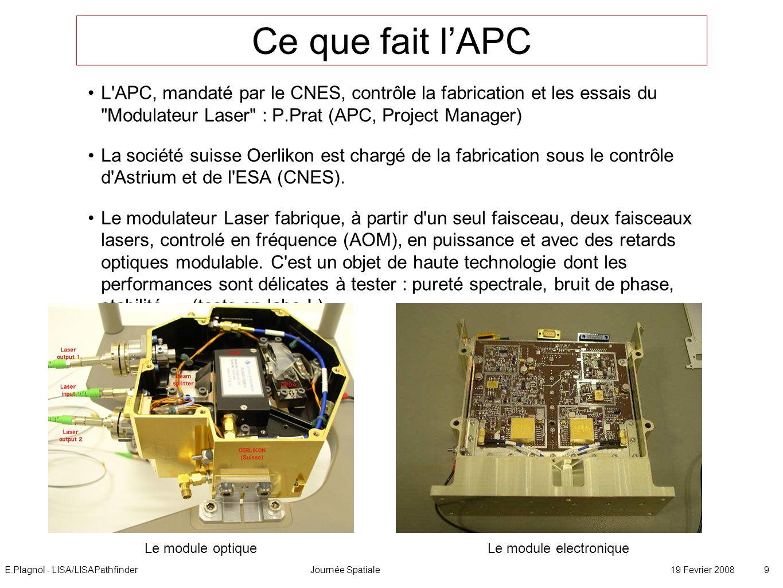 E.Plagnol - LISA/LISAPathfinderJournée Spatiale19 Fevrier 2008 9 Ce que fait lAPC L'APC, mandaté par le CNES, contrôle la fabrication et les essais du