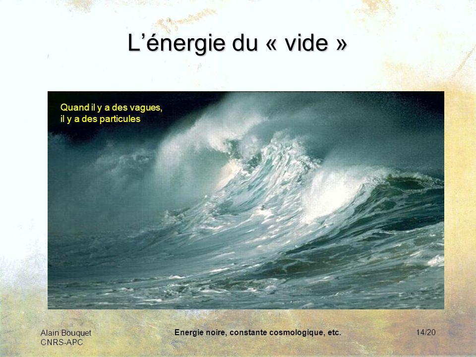 Alain Bouquet CNRS-APC Energie noire, constante cosmologique, etc.14/20 Lénergie du « vide » La mécanique quantique nous apprend que les ondes sont au