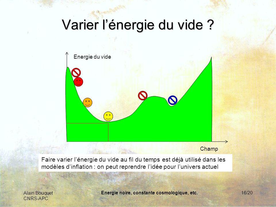 Alain Bouquet CNRS-APC Energie noire, constante cosmologique, etc.16/20 Varier lénergie du vide ? Champ Energie du vide Faire varier lénergie du vide