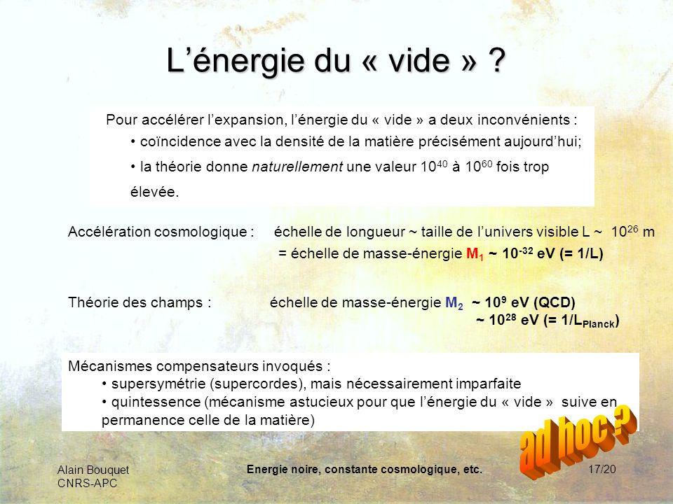 Alain Bouquet CNRS-APC Energie noire, constante cosmologique, etc.17/20 Lénergie du « vide » ? Théorie des champs :échelle de masse-énergie M 2 ~ 10 9