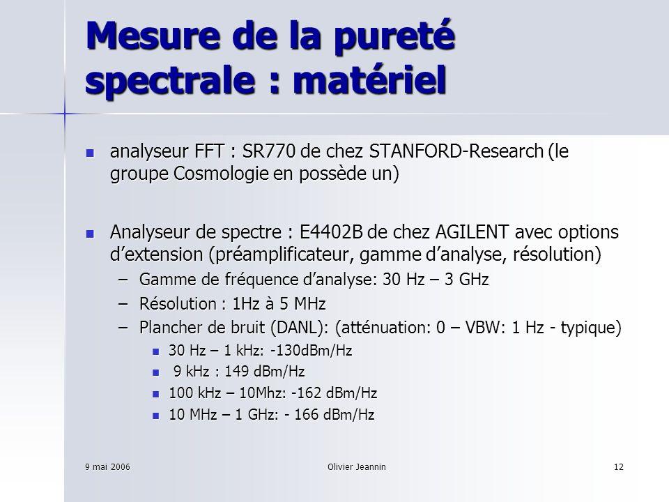 9 mai 2006Olivier Jeannin12 Mesure de la pureté spectrale : matériel analyseur FFT : SR770 de chez STANFORD-Research (le groupe Cosmologie en possède