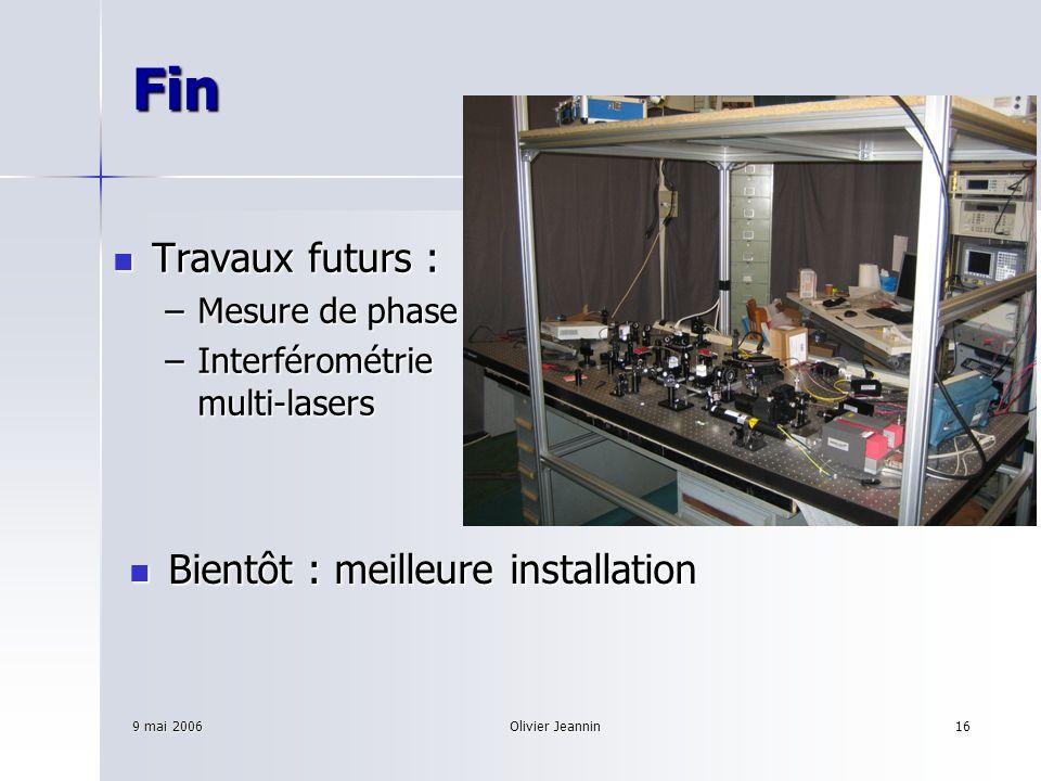 9 mai 2006Olivier Jeannin16 Fin Travaux futurs : Travaux futurs : –Mesure de phase –Interférométrie multi-lasers Bientôt : meilleure installation Bien