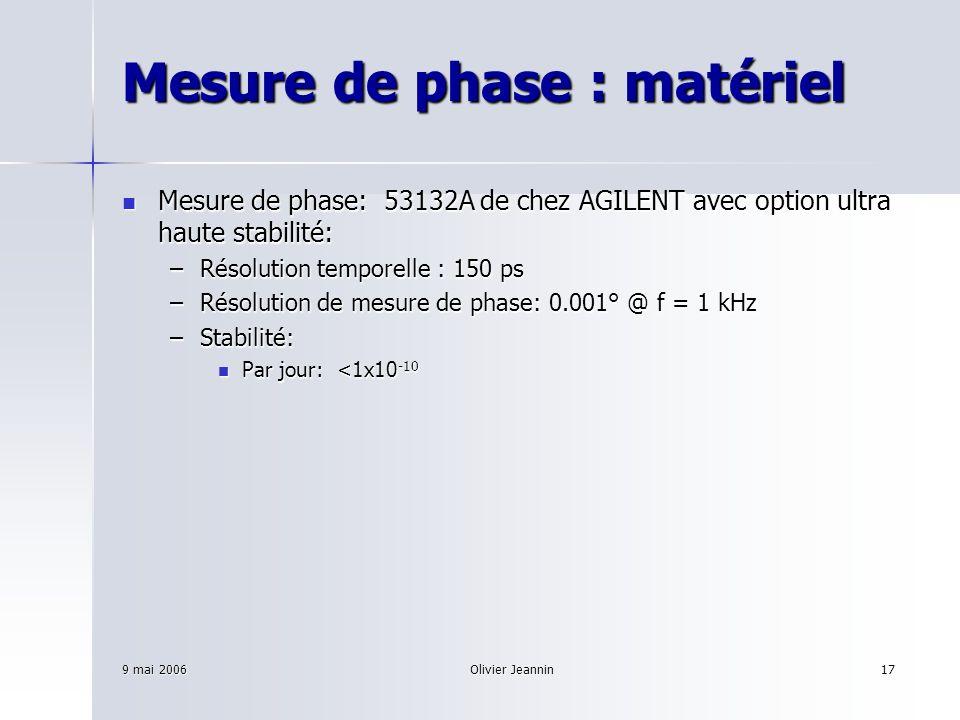 9 mai 2006Olivier Jeannin17 Mesure de phase : matériel Mesure de phase: 53132A de chez AGILENT avec option ultra haute stabilité: Mesure de phase: 531