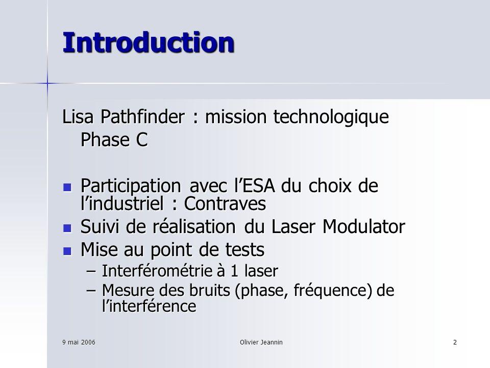 9 mai 2006Olivier Jeannin2 Introduction Lisa Pathfinder : mission technologique Phase C Participation avec lESA du choix de lindustriel : Contraves Pa