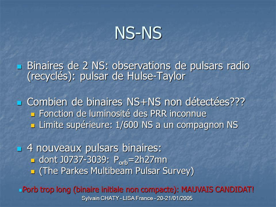 Sylvain CHATY - LISA France - 20-21/01/2005 NS-NS Binaires de 2 NS: observations de pulsars radio (recyclés): pulsar de Hulse-Taylor Binaires de 2 NS: observations de pulsars radio (recyclés): pulsar de Hulse-Taylor Combien de binaires NS+NS non détectées??.