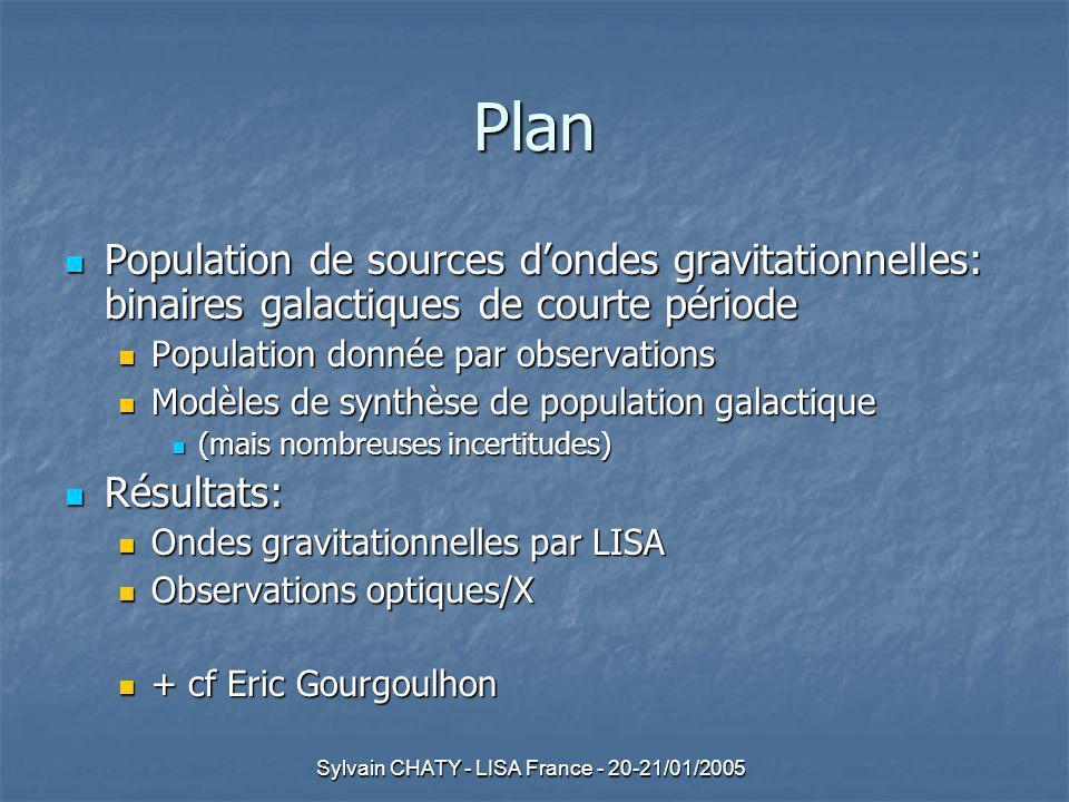 Sylvain CHATY - LISA France - 20-21/01/2005 Synthèse de population: incertitudes sur paramètres initiaux des binaires Fonction de masse initiale: (Scalo) Fonction de masse initiale: (Scalo) Probabilités relatives de différentes masses similaires dans différents environnements: [ Probabilités relatives de différentes masses similaires dans différents environnements: [0.3–1.0M]: P(M) M 1 MAIS différentes aux masses supérieures dans divers amas: P(M) M 2 -> M 3 Pour chaque étoile 1M un amas peut contenir 10 x plus détoiles 10M 100 x plus détoiles 100M quun autre amas fort impact sur les taux de formation des binaires NS/BH (provenant détoiles massives).