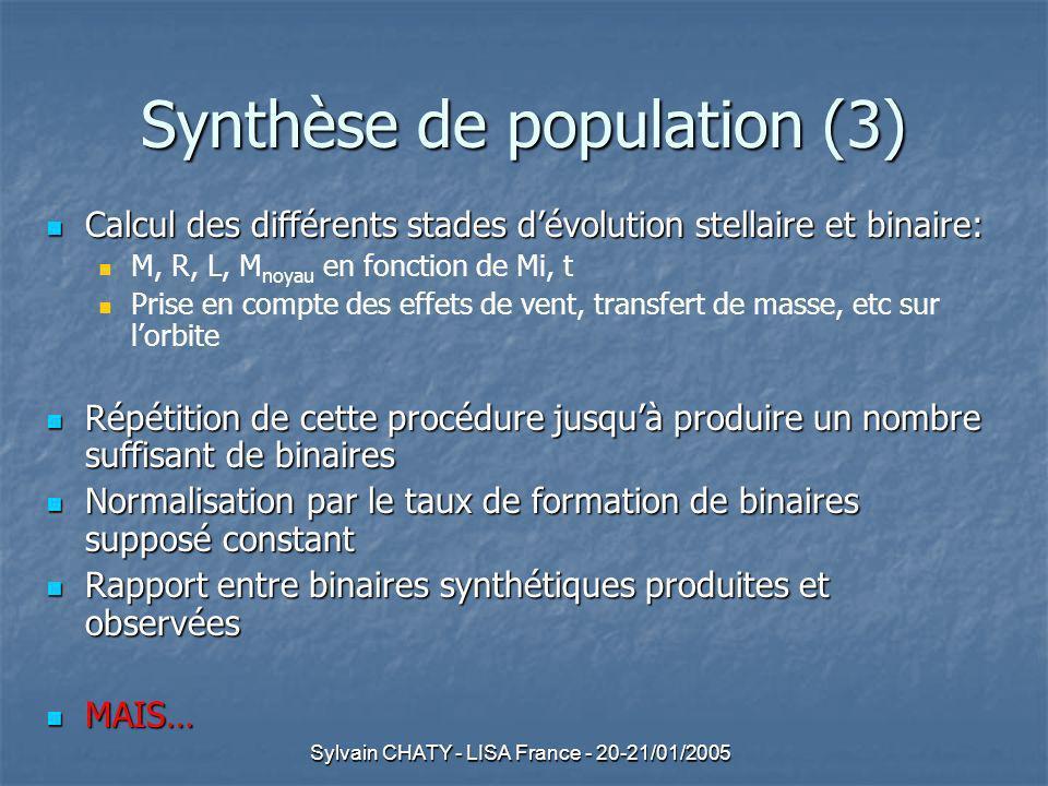 Sylvain CHATY - LISA France - 20-21/01/2005 Synthèse de population (3) Calcul des différents stades dévolution stellaire et binaire: Calcul des différents stades dévolution stellaire et binaire: M, R, L, M noyau en fonction de Mi, t Prise en compte des effets de vent, transfert de masse, etc sur lorbite Répétition de cette procédure jusquà produire un nombre suffisant de binaires Répétition de cette procédure jusquà produire un nombre suffisant de binaires Normalisation par le taux de formation de binaires supposé constant Normalisation par le taux de formation de binaires supposé constant Rapport entre binaires synthétiques produites et observées Rapport entre binaires synthétiques produites et observées MAIS… MAIS…