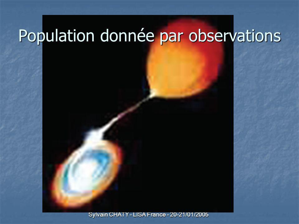 Sylvain CHATY - LISA France - 20-21/01/2005 Population donnée par observations