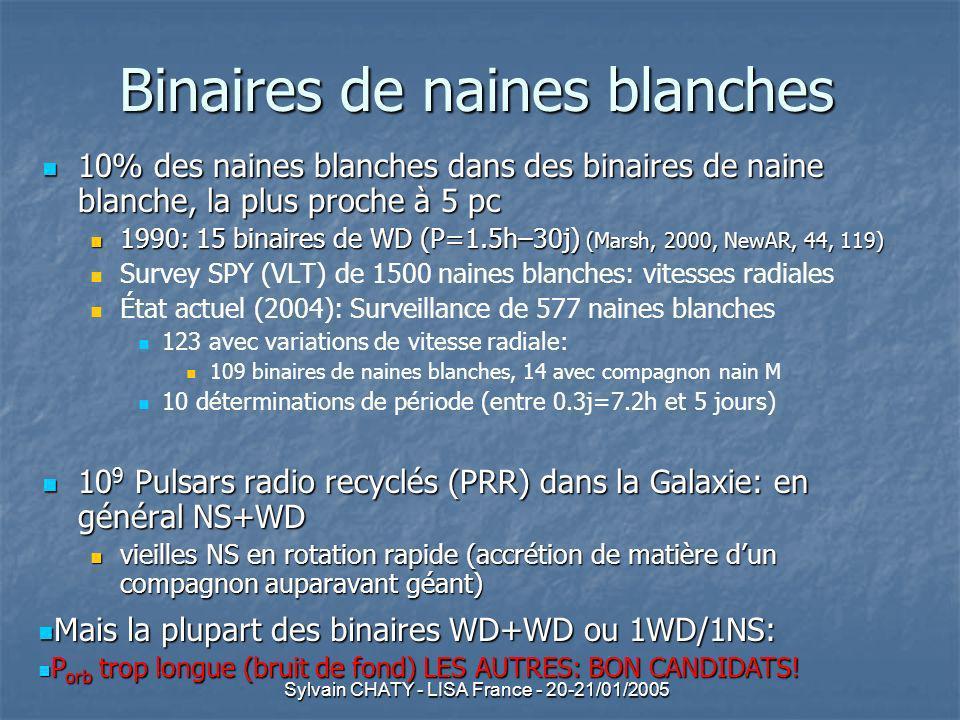 Sylvain CHATY - LISA France - 20-21/01/2005 Synthèse de population (2) Hypothèses initiales: Hypothèses initiales: Masse M de la primaire provenant de la distribution observationnelle (Miller & Scalo 1979) Masse M de la primaire provenant de la distribution observationnelle (Miller & Scalo 1979) Masse m de la secondaire: Masse m de la secondaire: distribution de m plate entre m min et M distribution de m plate entre m min et M m min =0.08M sol : nuage peut fusionner lH -> étoile MS m min =0.08M sol : nuage peut fusionner lH -> étoile MS Distance a: distribution plate en log(a) Distance a: distribution plate en log(a) min: auto-destruction de la binaire par effet de marée min: auto-destruction de la binaire par effet de marée max: les étoiles évoluent indépendamment max: les étoiles évoluent indépendamment Excentricité orbitale=0 Excentricité orbitale=0