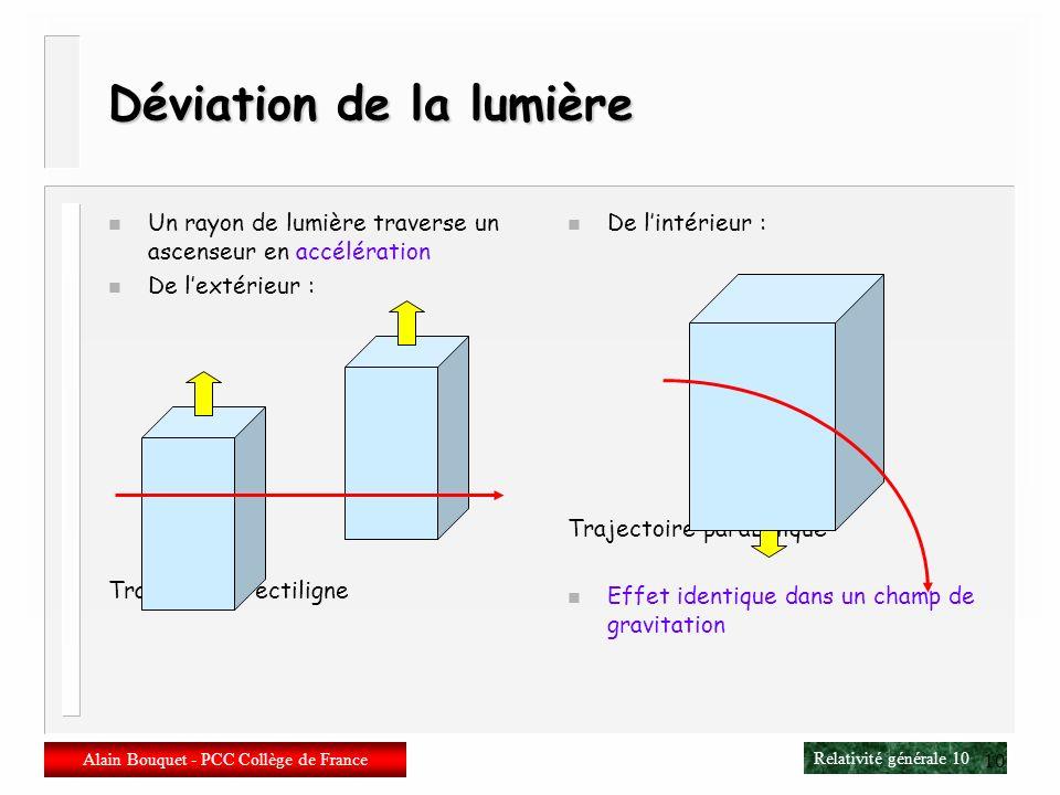 Relativité générale 9 Alain Bouquet - PCC Collège de France 9 Einstein et lascenseur n Localement Minkowski n Recollement des Minkowski => Riemann n G